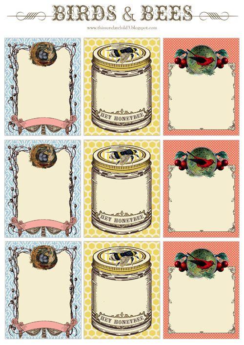 Free printable labels, love the bee jar.