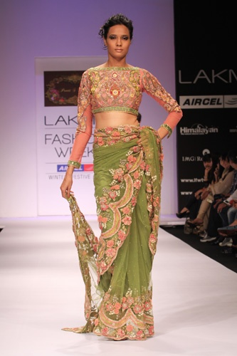Green Sari With Pink Floral Adornments...<3