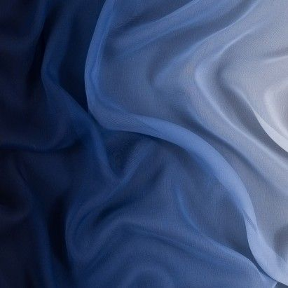 Blue and Ivory Ombred Silk Chiffon Fabric by the Yard | Mood Fabrics