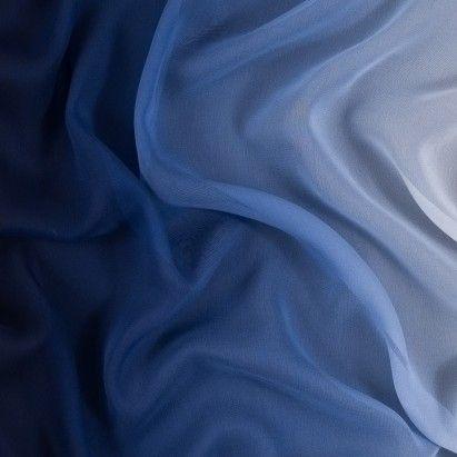 Blue and Ivory Ombred Silk Chiffon Fabric by the Yard | Mood Fabrics