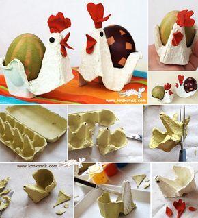 Basteln mit Kindern zu #Ostern: Aus einem Eierkarton werden niedliche Hühner #diy