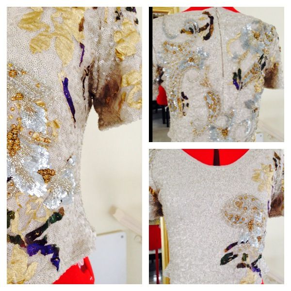 Sequin blouse with hand beadwork #2014