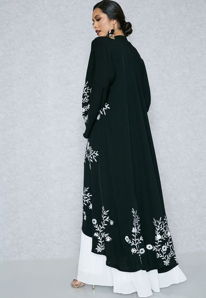 Shop Hayas Closet black Embroidered Abaya AWN-314 for Women in UAE