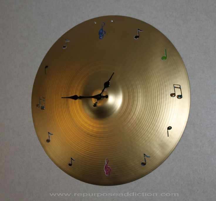 Hanging Wall Clock made from used Ride Cymbal music notes