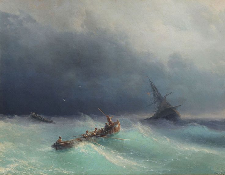 Ivan Konstantinovich Aivazovsky. Storm at sea. Buy this painting as premium quality canvas art print from Modarty Art Gallery. #art, #canvas, #design, #painting, #print, #poster, #decoration