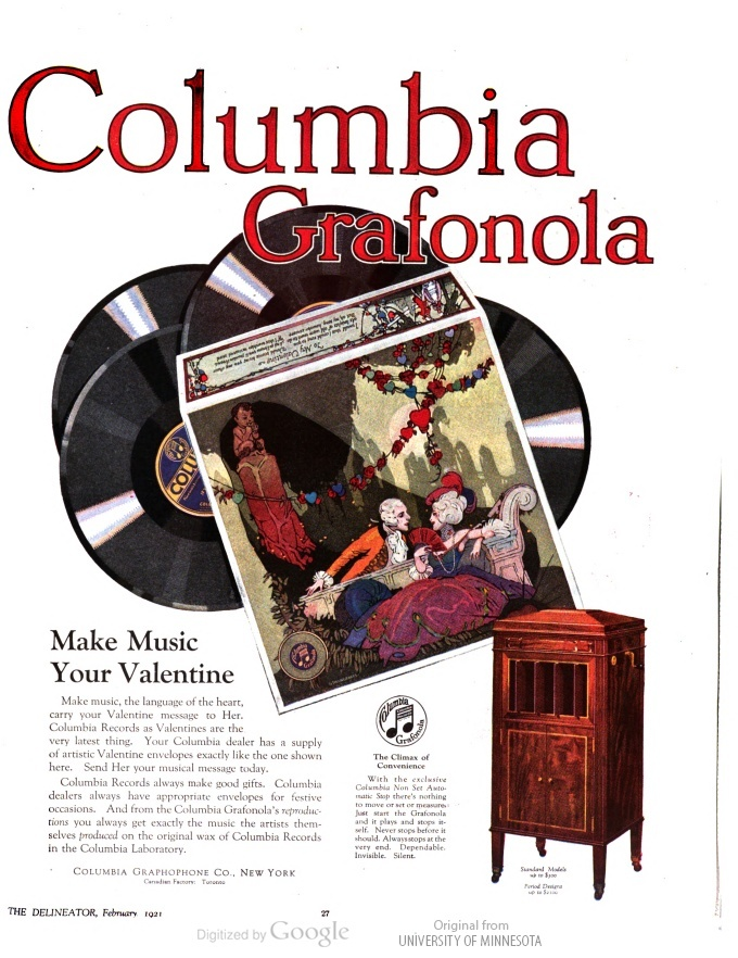 Make Music Your Va Tine Columbia Grafonola In The Delineator V La S Home Journalvintage