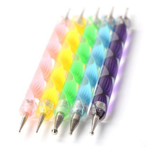 UniqStore Trousse d'accessoires de manucure / pedicure de Nail Art déco d'ongles : kit / set de 5 doubles pointes à décor pour les ongles | ...