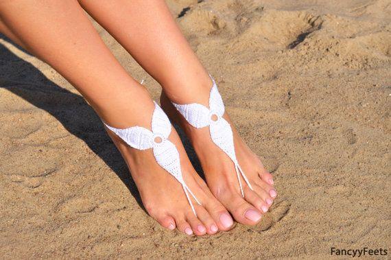 Uncinetto bianco sandali a piedi nudi piedi gioielli regalo