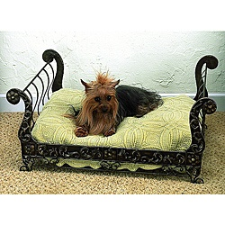 @Overstock.com - Your small four-legged friend will love the luxury of this antique pet bed. Hand-forged from iron and tole by master craftsmen and hand-finished in a multi-step process. This antique pet bed uses standard size bed pillow.  http://www.overstock.com/Pet-Supplies/Faux-Antique-Brass-Iron-and-Tole-Pet-Sleigh-Bed/6580887/product.html?CID=214117 $199.99
