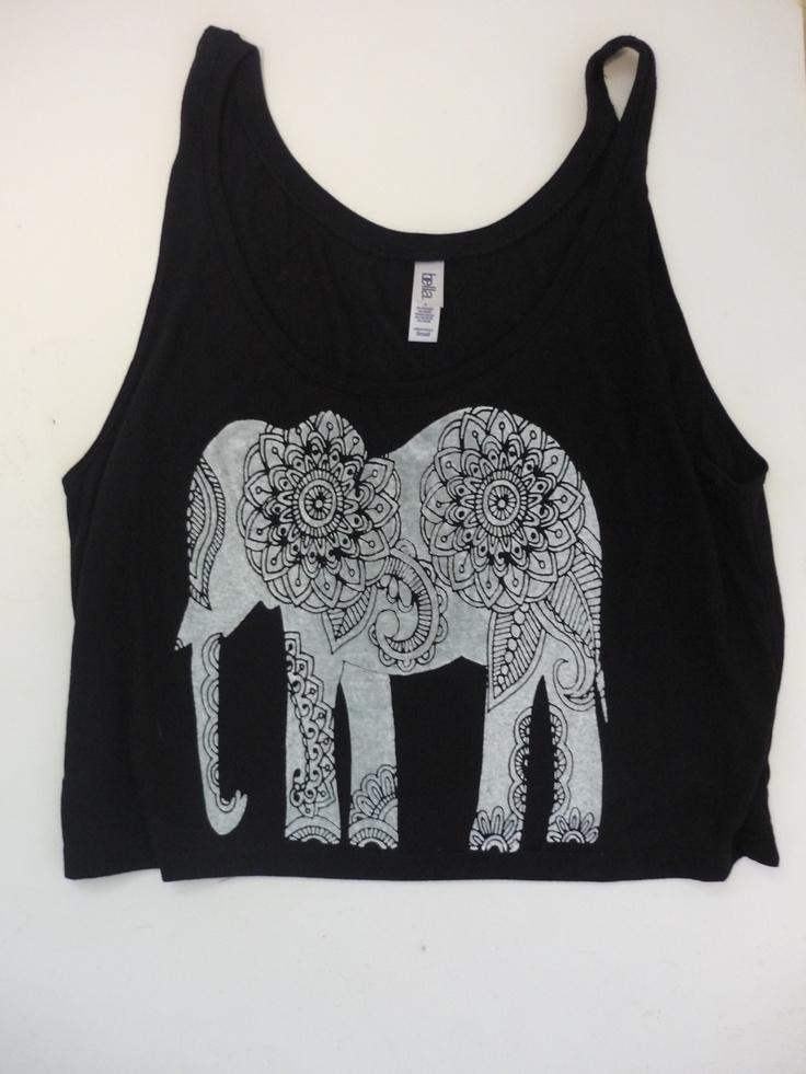 Paisley Elephant Crop Tank  FreeBirdCloth.com