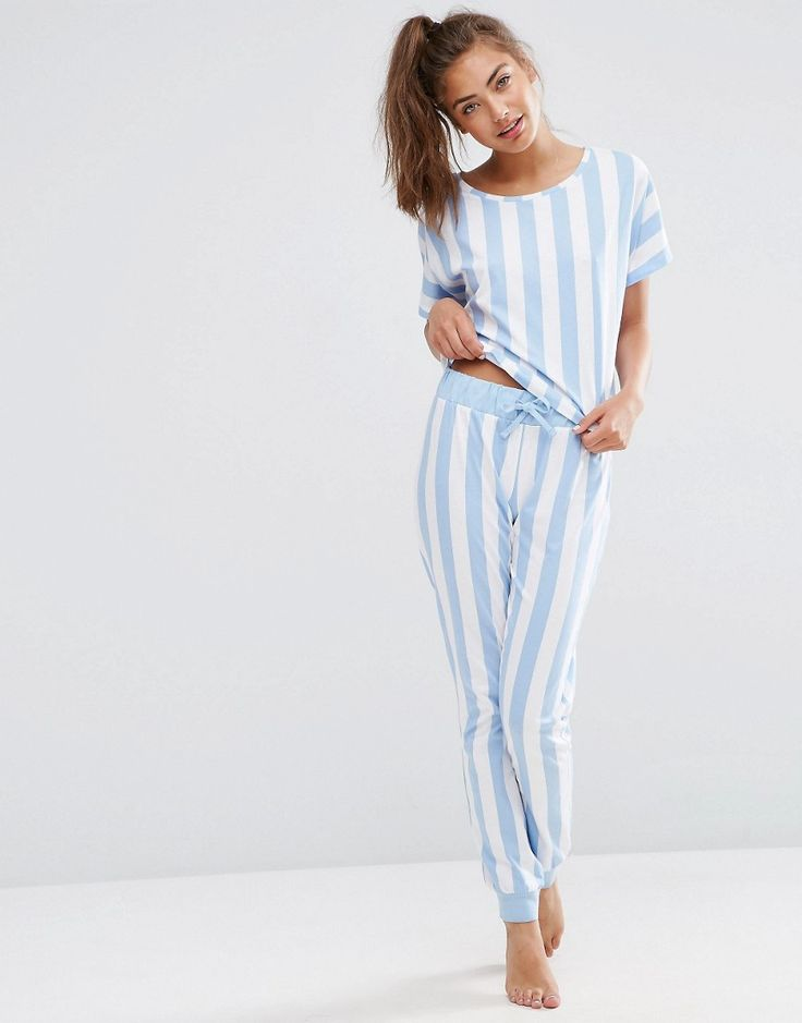 Image 1 of ASOS Deckchair Stripe Tee & Jogger Pajama Set