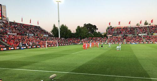 The best atmosphere in #ALeague says @GabbyMarkaj who captured Ross McCormack setting-up spectacular FK for 0-2 #ADLvMCY 29.10.17