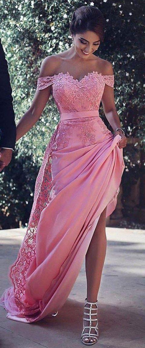 Off Shoulder Peach Satin Lace Appliqued Prom Dress,2017