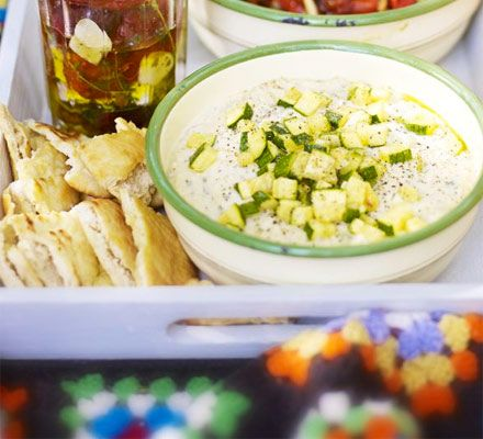 Minty bean & courgette dip with pitta crisps recipe - Recipes - BBC Good Food