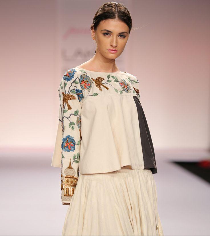 Off White Grey Cotton Skirt Set   Purvi Doshi