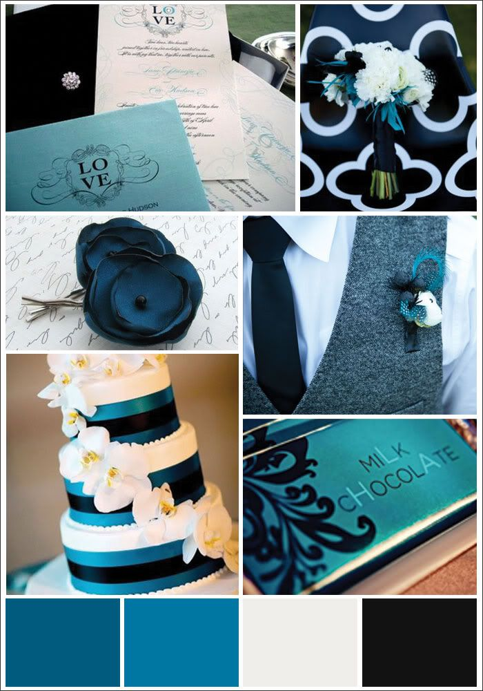 Really love these colors!!Colors Combos, White Wedding, Coastal Colors, Black Wedding Colors Schemes, Items Ideas Theme Food, Colors Palettes, Teal, Wedding Colors Schemes Black, Blue Wedding