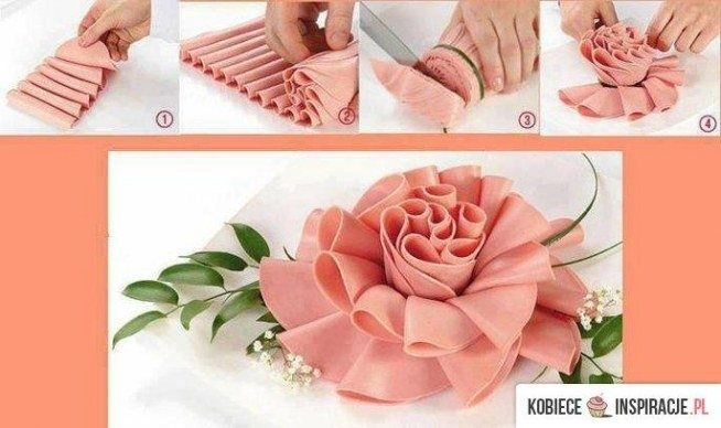 Decoration with ham; O;) #cooking #flower #ham