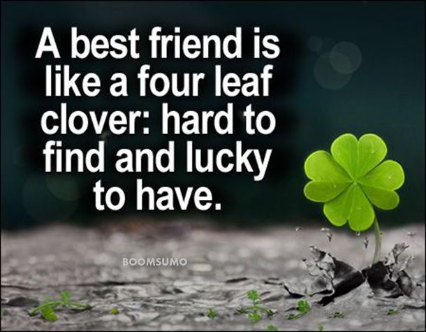 nice Best friends forever quotes about Four Leaf cute friend captions