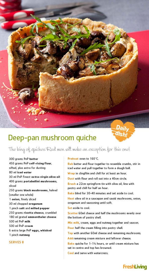 BOO! It's Halloween and we're dishing out cooking tricks and treats. Sink your teeth into this monstrous #mushroom #quiche for Meat-free Monday!