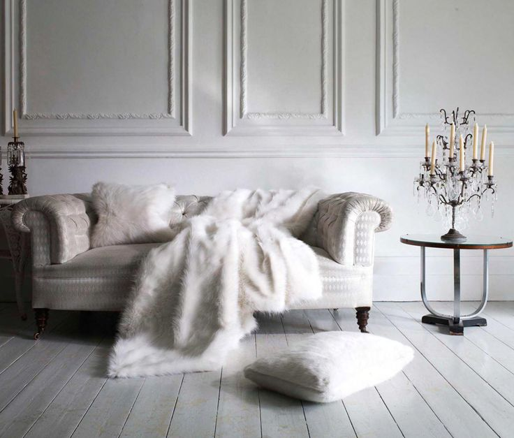 Winter Luxury Home Interior Ideas: Snow White Faux Fur Throw By Helen Moore
