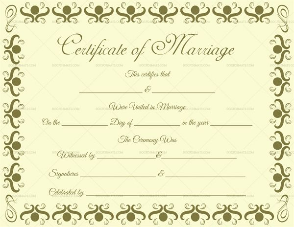 Marriage certificate templates 68 pinterest marriage certificate template 22 editable for word pdf format yelopaper Gallery