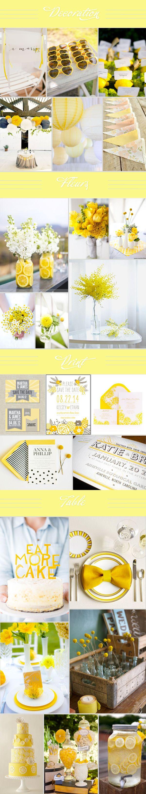 Voici un nouveau tableau d'inspiration, le jaune est à l'honneur. Une couleur tellement lumineuse, chaude, élégante, joyeuse… Elle se marie très bien avec du blanc ou du gris. Inspirez vous…