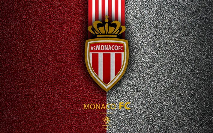 Download wallpapers AS Monaco FC, 4K, French football club, Ligue 1, leather texture, logo, emblem, Monaco, football
