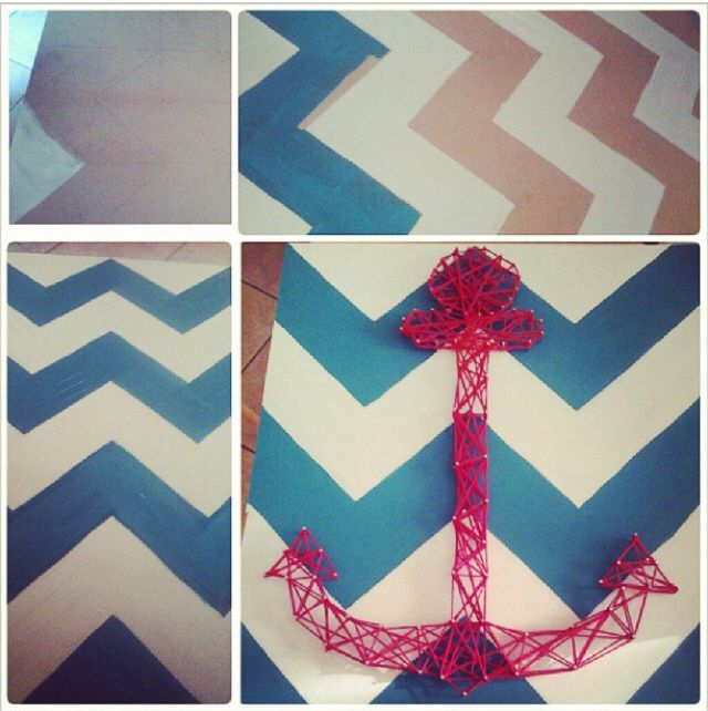 55 best yarn diy images on pinterest thread art craft and spikes nail and yarn art on diy chevron wood piece found in the garage wall art prinsesfo Gallery