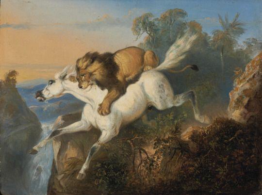 Lion Attacking a Horse, Raden Saleh, 1840