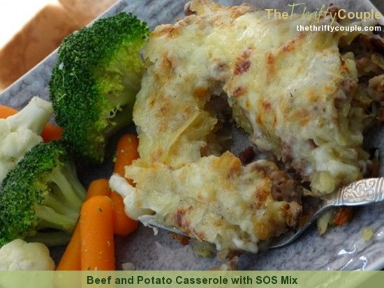 Yummy and frugal beef and potato casserole recipe.  This is easy to make and it uses SOS homemade mix!