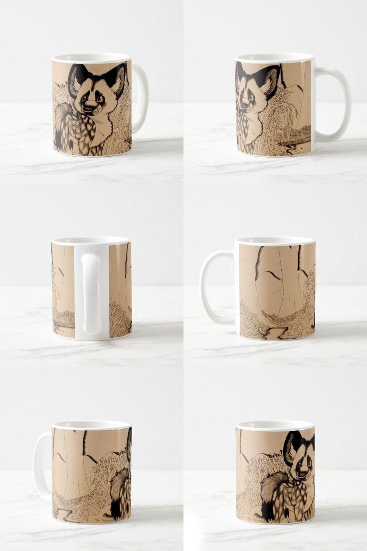 """Wasteland"" decorative Coffee Mug  #dog #africanwilddog #puppy #sepia #blackandwhite #canine #animal #products #items #gifts #stuff #decor #art #illustration #pendrawing #cartoon"