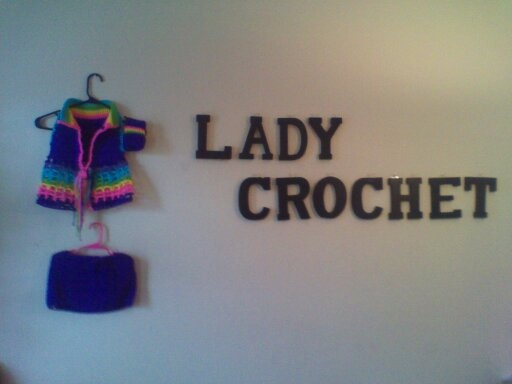 Purple Crochet Vest and Skirt Set with Neon colors at collar and bottom of vest