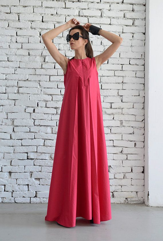 Pink Maxi Dress / Loose Long Dress / Casual Daywear Dress /