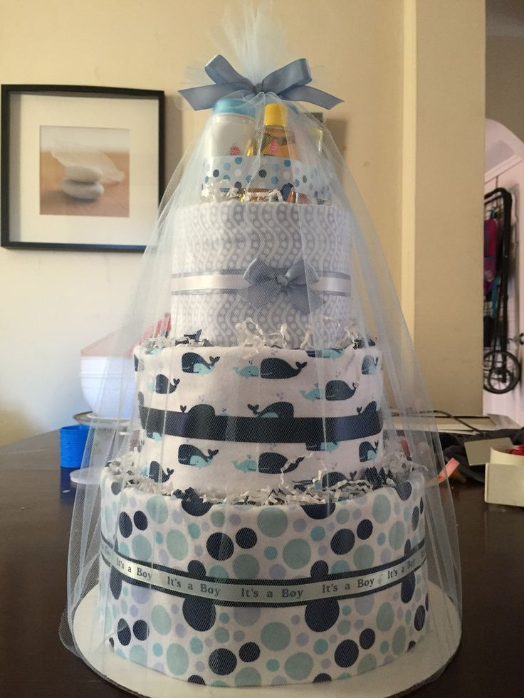 Whale themed diaper cake.