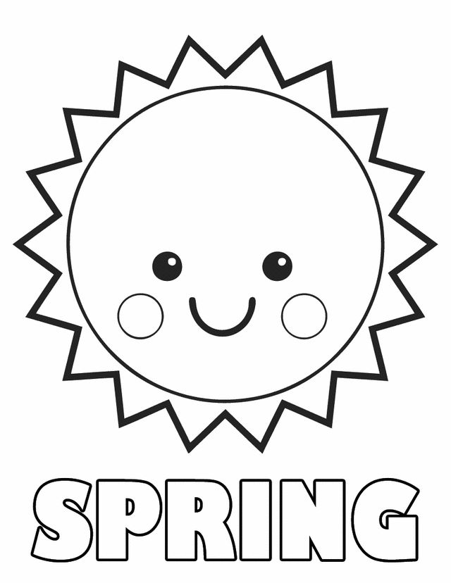springtime coloring sheets spring sun - Spring Color Pages