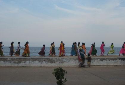 Group of students walking towards Gandhi Memorial in Pondicherry (outside Chennai)