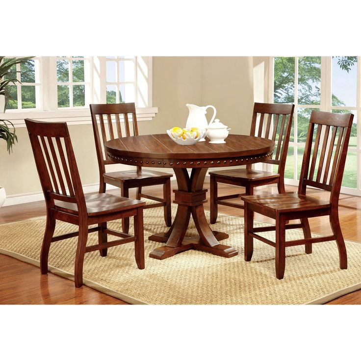 Furniture of America Fort Wooden 5 Piece Round Dining Table Set - IDF-3437RT-5PC