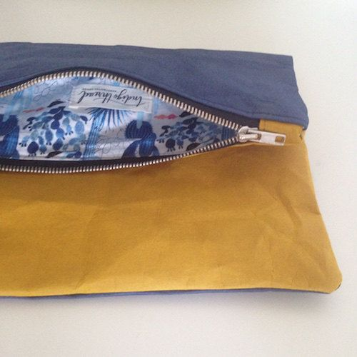 Navy and Mustard Washable Paper clutch by IndigoThreadWares on Etsy