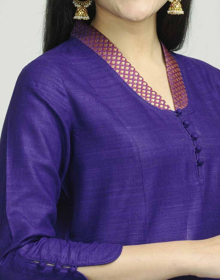 Fabindia.com | Silk Matka Brocade Trim Long Kurta