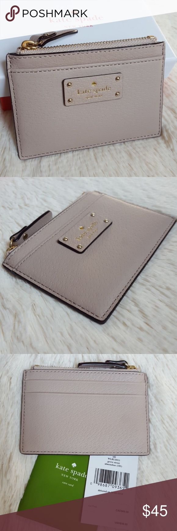 """Kate Spade Grove Street Almondine Leather Zip-Card 100% Authentic Kate Spade ♠️ - Kate Spade logo on front.  - 4.5 """" wide x 3.25"""" high.  - 2pockets in the back.  **REPOSH♠️PRICE IS FIRM FOR THIS ONE AS IT DIDNT MATCH MY PURSE, SO I'M JUST TRYING TO GET BACK WHAT I PAID** kate spade Bags Wallets"""