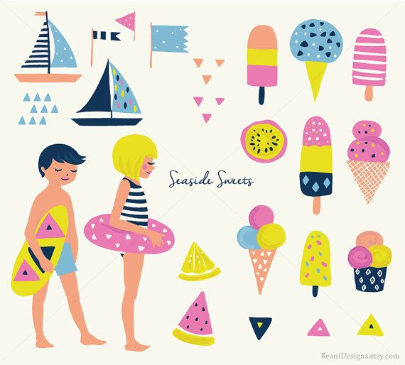 Beach Clip Art Clipart Ice Cream Popsicle Sundae by ReaniDesigns