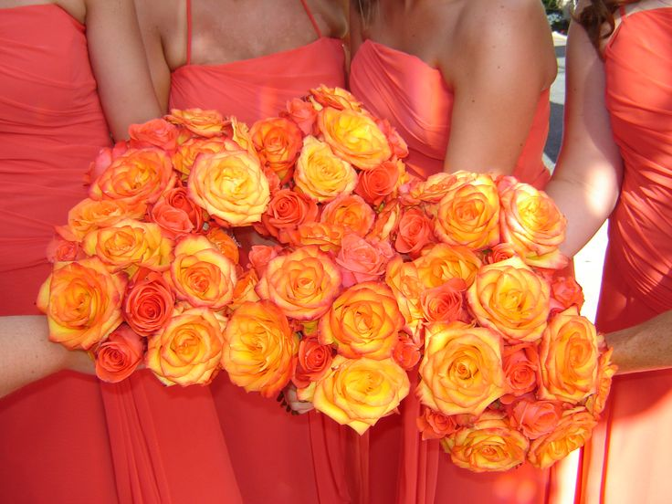 Bicolor Yellow and Red Roses for beautiful bridesmaids bouquets