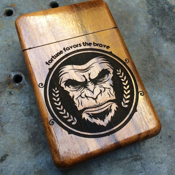 Personalized Wooden Cigarette Case Engraved Brave by Maliojava