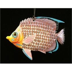 Carribean Sea Hanging 3D Tiki Tropical Decor Fish Ornament 4 inch