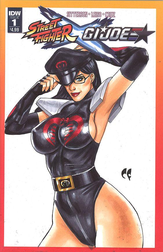 IDW Comic STREET FIGHTER X GI JOE Original Art BARONESS Blank Sketch Cover