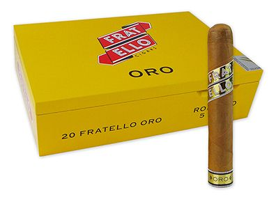 Fratello Oro Cigars ~ Fratello Oro cigars are the third in Omar de Frias' lineup of premium cigars and offer a significant divergence in blending from his Fratello and Fratello Bianco lines with its Ecuadorian Connecticut wrapper, Cameroon binder, and Dominican Ligero/Nicaragua Esteli Viso/Columbian long filler tobaccos. This may be a milder, creamier cigar than its counterparts, but it's equally full of flavor.