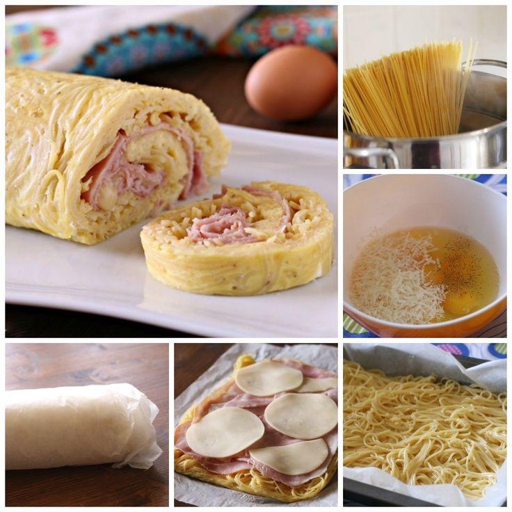Rotolo di spaghetti con cotto e mozzarella