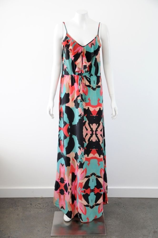 Country Road  Women s 100% Silk Floral Print Sleeveless Maxi Dress {Size 8}