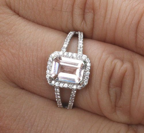 14k White Gold Morganite Emerald Cut and Diamond Halo Split Shank Wedding or Engagement Ring (Choose color and size options at checkout)