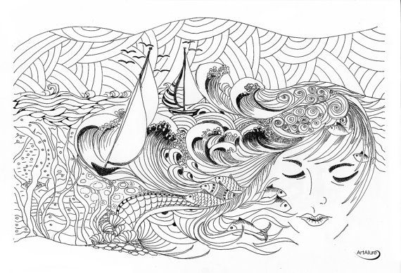 Dream about Summer  ink pen drawing by artallure on Etsy